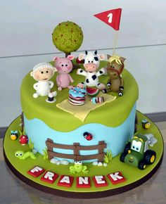 Farm animals picnic cake - Cake by Crumb Avenue Farm Birthday Cakes, Animal Birthday Cakes, Birthday Ideas, Fondant Cakes, Cupcake Cakes, Farm Animal Cakes, Farm Animals, Animal Cakes For Kids, Picnic Cake