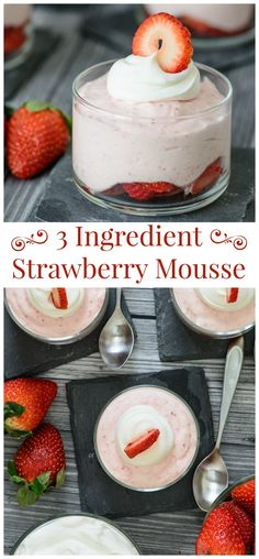 3 Ingredient Strawberry Mousse - This sweet, light and addicting dessert is sure to satisfy your sweet tooth! Can even be made into a paleo mousse recipe with a few simple tweaks. Have to try this!