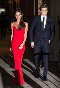 Victoria Beckham in gorgeous red with eldest son Brooklyn Beckham