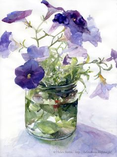 Helen Ström: And why not some Petunias before end of season? - Helen Ström: And why not some Petunias before end of season?… Helen Ström: And why not some Petunias before end of season? Watercolor Pictures, Watercolor Artists, Watercolor Techniques, Watercolor Illustration, Watercolour Painting, Watercolor Flowers, Painting & Drawing, Watercolors, Watercolor Portraits