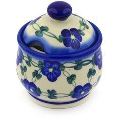 Polish Pottery 10 oz Sugar Bowl | Boleslawiec Stoneware | Polmedia H2510F | Polmedia