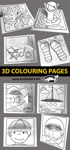 krokotak | 3D colouring pages Classroom Art Projects, Art Classroom, Summer Art, Summer Crafts, Crafts For Kids To Make, Art For Kids, Arts And Crafts, Paper Crafts, Colouring Pages