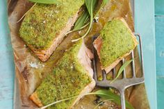 Our Baked Salmon with Herb Crust is a great recipe choice for a busy weeknight. Topped with fragrant fresh herbs, garlic and panko bread crumbs, this quick-and-easy salmon dish can be ready to enjoy in about 30 minutes. Kraft Recipes, Herb Recipes, Salmon Recipes, Fish Recipes, Seafood Recipes, Cooking Recipes, Healthy Recipes, Fish Dinner, Seafood Dinner