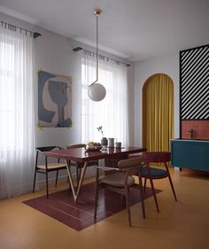 3 great studio apartments with interesting spring acc .- 3 tolle Studio-Apartments die mit interessanten Frühling Akzent Design und sch… 3 great studio apartments that create interesting spring accent design and beautiful color - Design Loft, Futuristisches Design, Deco Design, Design Ideas, Mid Century Modern Living Room, Living Room Modern, Modern Interior Design, Interior Architecture, Bauhaus Interior
