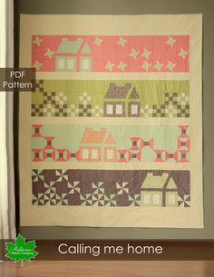 PDF queen size quilt pattern - Calling Me Home quilt pattern by Robinson Pattern Company