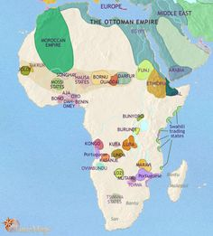 History map of Africa 1453AD - 1648AD. What is happening at this time? Ottoman empire rules most of North Africa, kingdom of Morocco has formed its own empire, European sailors and traders first arrive off coast of West Africa (mid-15th century), Swahili trading states face Portuguese in the Indian Ocean leading to decline in prosperity, Portuguese establish colonies in modern day Angola as slave trade base and on the cape as a stop on journey to Indian Ocean