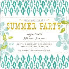 Summer Party Invitations - LOVE THIS!