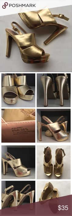 """JESSICA SIMPSON Metallic Gold Platform Heels, 8.5 Selling for my sister, Grace (she purchased on eBay, never wore them, selling as her foot grew post baby). Metallic faux leather gold platform 4.5"""" heels. Overall great condition with minimal signs of wear apart from minor marks--see photos taken in natural light. Adjustable ankle strap. Cross listed. Jessica Simpson Shoes Heels"""