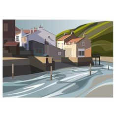 The Beckside at Staithes Digital Print (Archival) Size x Edition 250 Post & Packing City Illustration, Graphic Design Illustration, Illustration Styles, City Painting, Gouache Painting, Abstract Digital Art, Abstract Art, Watercolor Landscape, Digital Image