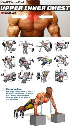 Chest Workout : 3 Exercises To Target Inner Pecs - GymGuider com Chest Workout For Men, Chest Workout Routine, Gym Workouts For Men, Abs Workout Routines, Weight Training Workouts, Biceps Workout, Fun Workouts, Body Workouts, Inner Chest Workout