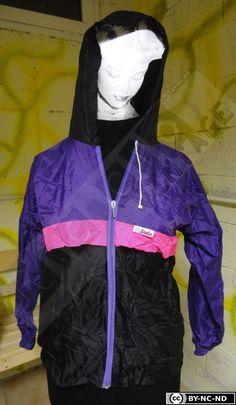 90's Vintage folding waterproof Anorak in black, purple and pink di RCClo su Etsy