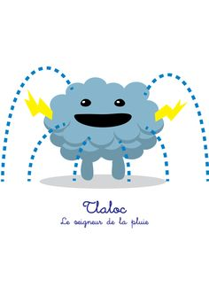 Lil Gods is a series of cute characters, designed for children, based on Mesoamerican deities. Tlaloc : le seigneur de la pluie (the lord of the rain) T-Shirt and prints here: https://society6.com/product/tlaloc-le-seigneur-de-la-pluie-lil-gods_print#1=45 English and Spanish version on request