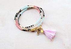 Boho Star Tassel Bracelet ,Seed bead Friendship bracelet, stackable bracelet, Delicate Thin Boho Bracelet, Wrap bracelet, layered bracelet