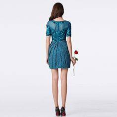 New Styles Short Sleeve Embroidery Prom Party Cocktail Blue Dot Mini Dress