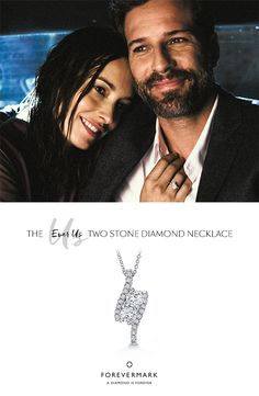 Two individuals, one unique bond. Represent your one-of-a-kind love with the Ever Us™ Two Stone diamond necklace.