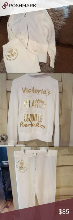 Victoria secret supermodel sweatsuit Brand new. White with gold detailing. Excellent condition. Limited edition. Sold out. Capri sweatpants. Zip up hooded sweatshirt jacket. Smoke free home. Paid $250 Victoria's Secret Pants Track Pants & Joggers