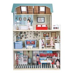 Groot houten poppenhuis met meubilair