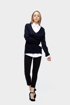 A deep V sweater dressed with a white shirt could give you a relaxed look both for school or for work.
