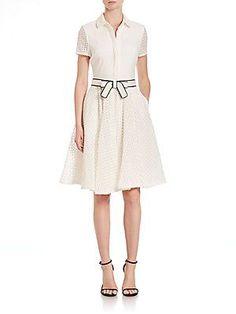 Badgley Mischka Short-Sleeve Belted Shirt Dress - White - Size