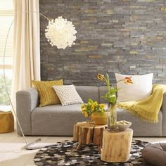 Living Room, Elegant Small Eclectic Living Room Design With Natural Decoration By Mosaic Slate Stone Wall Tree Trunk Coffee Table Modern Contemporary Arch Floor Lamp Round Artistic Rug Deasign Ideas ~ Improving Small Living Room Decorating Ideas with Fireplace and Bookcase