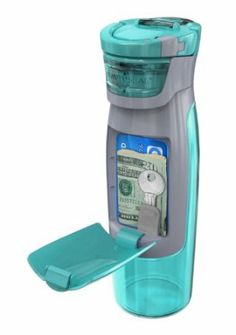 AUTOSEAL Kangaroo Water Bottle with Storage Compartment - 24 oz. - Turquoise. $12.99
