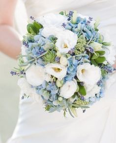 Blue Wedding Flowers Beautiful, natural blue green and white bouquet - Bouquet Bleu, Bridal Bouquet Blue, Blue Wedding Flowers, Blue Bridal, Bride Bouquets, Floral Wedding, Wedding Colors, Wedding Ideas, Wedding Blue