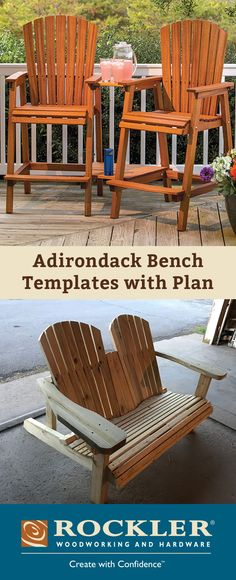 Pre-cut full-size cardboard templates make building this bench as easy as trace, cut and assemble! And perhaps no woodworking project is so immediately rewarding to the tired craftsman as a comfortable, welcoming Adirondack bench.
