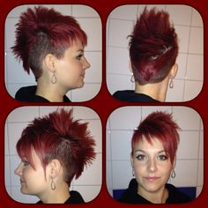 Another cut and color :)  # mohawk shorthair womenshorthair girlswithshorthair redhair sidecut undercut