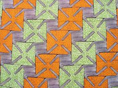 Orange and Green squares African wax print batik by ChilliPeppa, £5.00