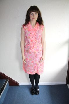 Vintage 60s Pink Paisley Patterned Sleeveless Dress w/ Belt Size 10 by fromluluwithloveuk on Etsy