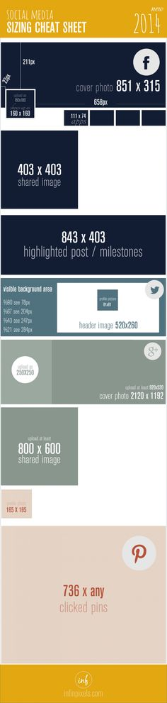 This is a social media sizing cheat sheet from InfinPixels which will help you to organize your social profiles!