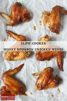 Slow Cooker Honey Bourbon Chicken Wings - Make a few adjustments for Paleo but you get the general idea. And broiling wings prior to putting in slow cooker? Crock Pot Slow Cooker, Crock Pot Cooking, Slow Cooker Chicken, Slow Cooker Recipes, Crockpot Recipes, Cooking Recipes, Mama Cooking, Cooking Ideas, Bourbon Chicken