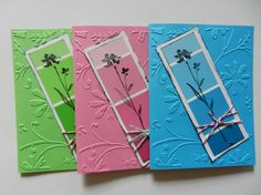paint chip embossed card with stamped flower design & bakers twine