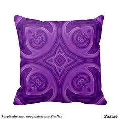 Purple abstract wood pattern throw pillows