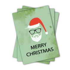 Hipster Santa Christmas Card by JacobyDesign on Etsy