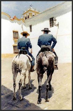 Figuras-a-Caballo \\ Watercolor painting by the Spanish artist Jose Gonzalez Bueno Spanish Painters, Spanish Artists, Classic Paintings, Contemporary Paintings, Art Aquarelle, Watercolor Paintings, Equine Photography, Animal Photography, Andalusian Horse