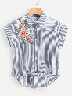 SheIn offers Embroidered Flower Applique Knot Front Striped Shirt & more to fit your fashionable needs. Lange T-shirts, Design Your Own Shirt, Striped Shirt Dress, Blue Blouse, Inspiration Mode, Over 50 Womens Fashion, Ladies Fashion, Embroidered Clothes, Cute Outfits
