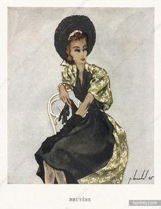 Bruyère 1945 Pierre Louchel Fashion Illustration
