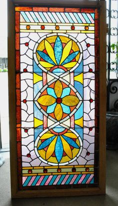 Antique Victorian Stained Glass Window Circa 1880's American Made