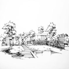 Landscape Architecture Drawing, Architecture Concept Drawings, Architecture Sketchbook, Landscape Sketch, Urban Landscape, Landscape Design, Doodle Drawings, Drawing Sketches, Pen Sketch