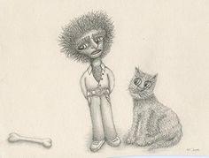 José Torres Ilustrador: Hombre, gato y hueso.