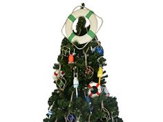 Handcrafted Model Ships Lifering15313XMASS White Lifering Seafoam Green Bands Christmas Tree Topper Decoration ** This is an Amazon Affiliate link. See this great product.