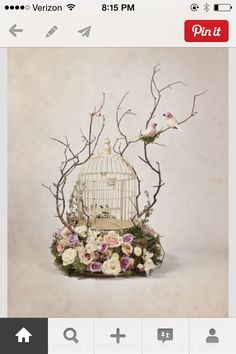 What a pretty arrangement with the bird cage. Different arrangement per table Deco Floral, Floral Design, Bird Cages, Hanging Bird Cage, Deco Table, Centre Pieces, Decoration Table, Bird Cage Decoration, Ikebana