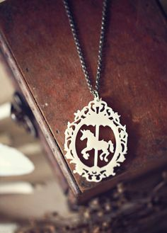 Carousel Unicorn Necklace in Victorian frame - Cream or Coal