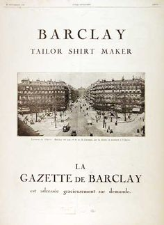 1926 Barclay Shirt Maker - Tailor original vintage French advertisement.