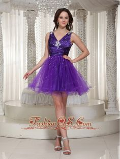 Buy purple v neck beading organza zipper up celebrity homecoming dress from fashionable homecoming dresses collection, v neck neckline a line in purple color,cheap mini length dress with zipper back and for prom party cocktail party night club . V Neck Prom Dresses, Best Prom Dresses, Beaded Prom Dress, Prom Dresses Online, Cheap Prom Dresses, Prom Party Dresses, Pageant Dresses, Graduation Dresses, Dress Online