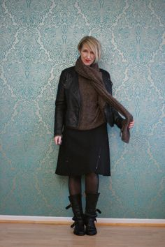 A fashion blog for women over 40 and mature women http://www.glamupyourlifestyle.com/  Sweater + Skirt: Dorothee Schumacher Boots: Fiorentini + Baker Leatherjacket: Bon A´Parte