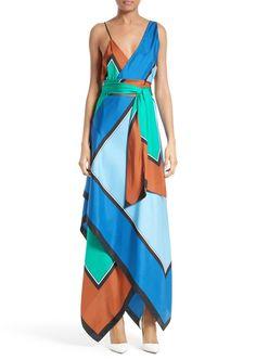 Diane von Furstenberg Scarf Hem Silk Maxi Dress