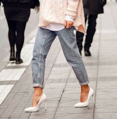 White Pumps + Mom Jeans