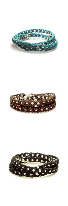 Boho Chic Macrame Wrap Bracelets Handmade by Village Women.  Simple Beauty❤